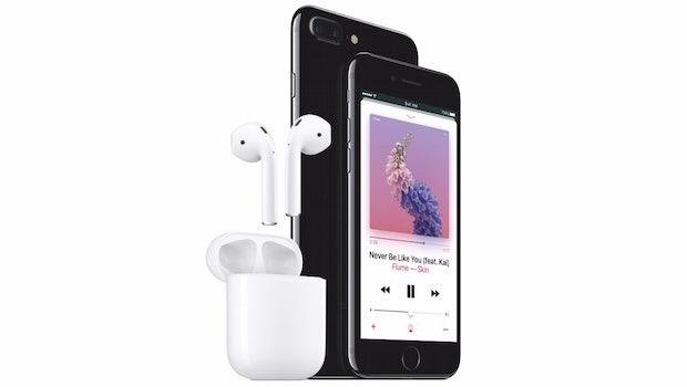 Das griPhone 7 und 7 Plus und die kabellosen AirPods. (Bild: Apple)