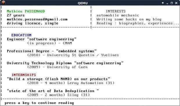 Richtig ungewöhnlich: Ein Lebenslauf als Betriebssystem. (Screenshot: Mathieu Passenaud)