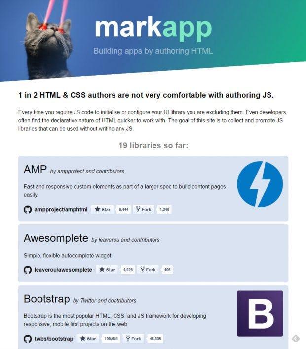 Markapp.io: Schnelle Liste guter Lösungen. (Screenshot: t3n)
