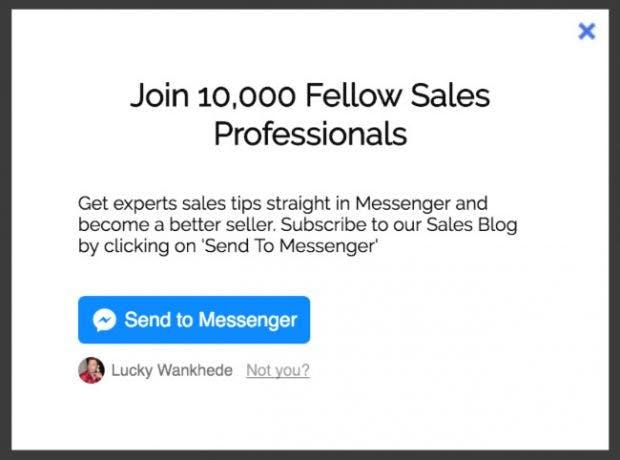 Facebook-Messenger: Nutzer können sich über ein solches Popup auf eurer Website für den Newsletter anmelden. (Screenshot: Mindiq)