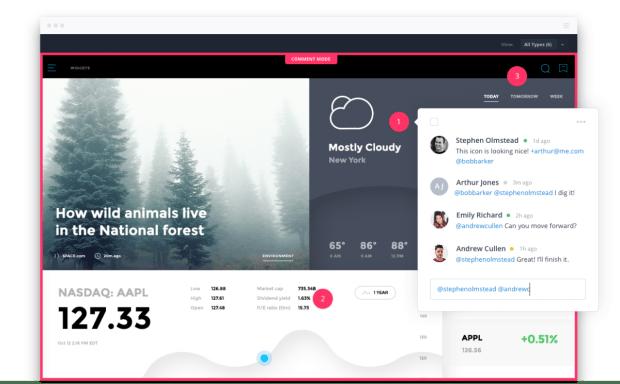 InVision erlaubt die Diskussion direkt am betroffenen Designelement. (Screenshot: InVision)