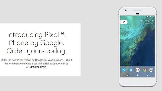Bei Bell ist auch die Vorbestellseite des Pixel  bereits zu finden. (Bild: Bell
