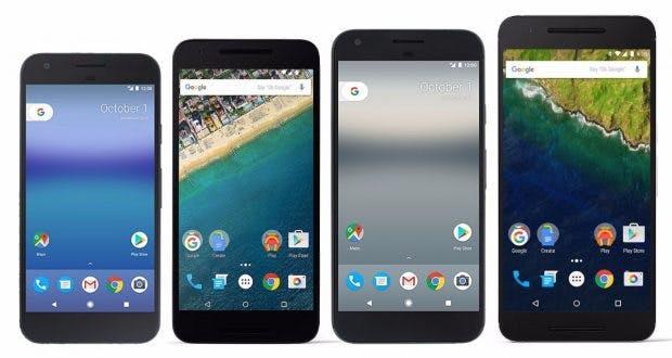 Größenvergleich: Pixel und Pixel XL gegen Nexus 6P und 5X. (Bild: Android Central)