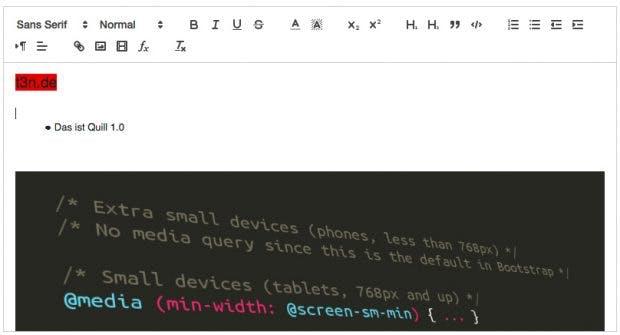 Quill 1.0 bringt von Haus aus die wichtigsten Editor-Funktionen mit. (Screenshot: Quill)