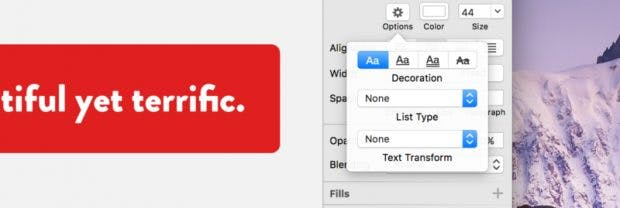 Sketch 40 bringt non-destruktive Text-Transforms mit. (Screenshot: Sketch)