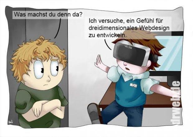 Gutwilliger Webdesigner auf der Suche nach dem Sinn der VR. (Cartoon: Dieter Petereit für Dr. Web Magazin)