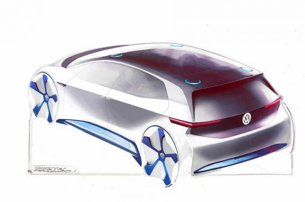 Was diese futuristische Beleuchtung auf dem Dach des Volkswagen E-Auto-Konzepts soll, bleibt abzuwarten. (Bild: VW)
