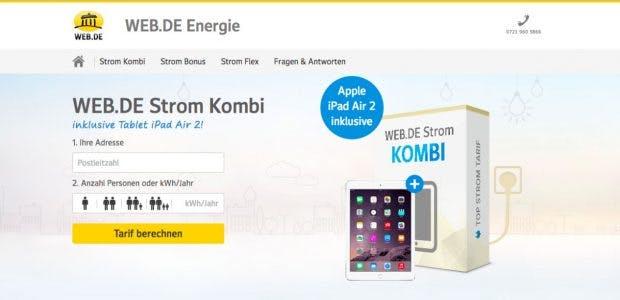 Web.de: Das Internetportal will seine Nutzer jetzt auch mit Strom versorgen. (Screenshot: energie.web.de)