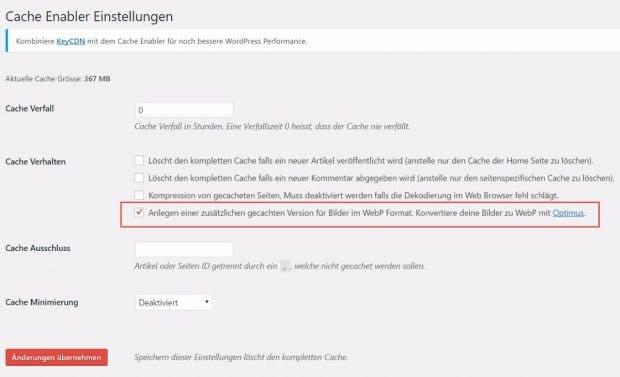 Cache-Enabler: Hier ist ein Haken zu setzen. (Screenshot: t3n)