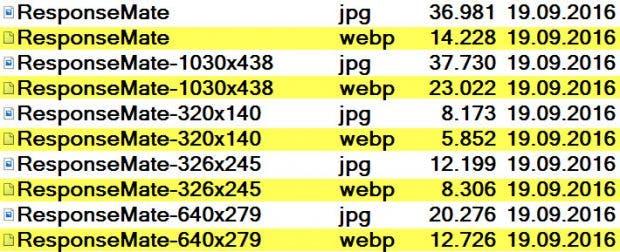 Eindeutige Größenunterschiede zugunsten des Formats WebP. (Screenshot: t3n)