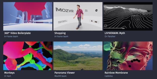 Ausschnitt aus dem MozVR-Showcase virtueller Realitäten. (Screenshot: t3n)