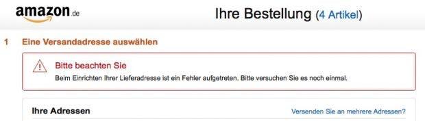 Fehlermeldung bei Amazon-Bestellungen am Mittwochmorgen. (Screenshot: Amazon.de/t3n)