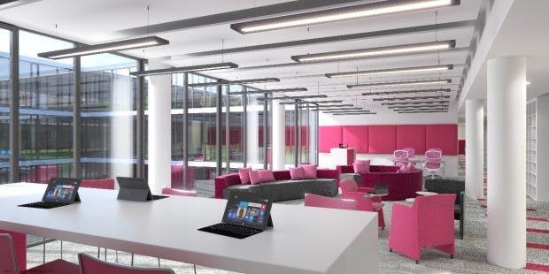 In der neuen Zentrale gibt es 1.100 Arbeitsplätze für 1.900 Mitarbeiter. Das Unterangebot soll durch flexible Arbeitsorte wie beispielsweise dem Homeoffce ausgeglichen werden. (Foto: Microsoft)