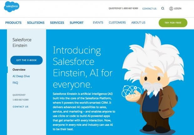Einstein, die neue AI-Cloud von Salesforce. (Screenshot: Salesforce)
