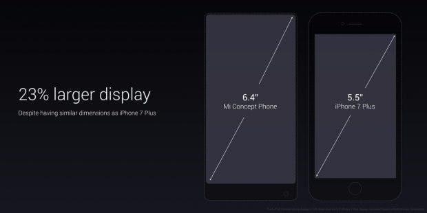 Xiaomi Mi Mix vs iPhone 7 Plus. (Bild: Xiaomi)