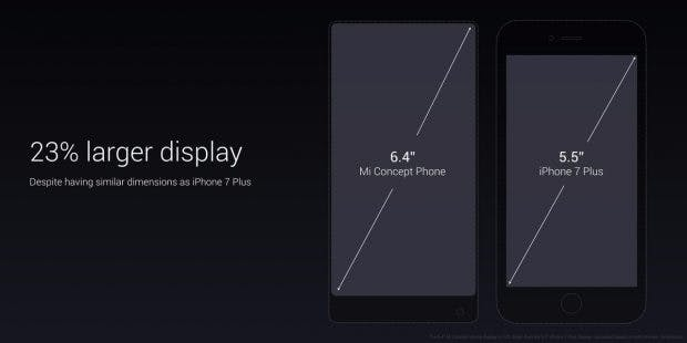 Xiaomi Mi Mix vs iPhone 7 Plus. (Bild: Xiaomi)