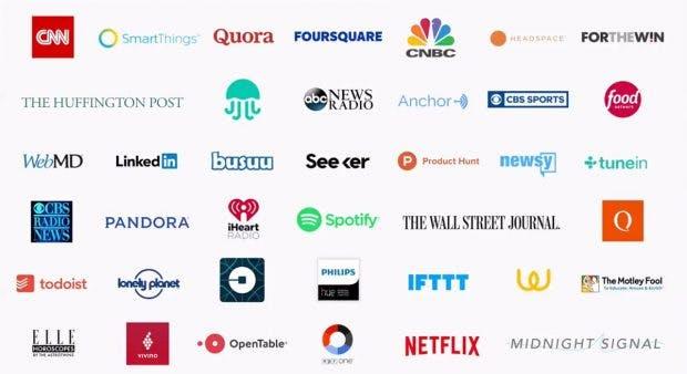 Das sind die ersten bekannten Partner der Actions on Google. (Screenshot: Venture Beat)