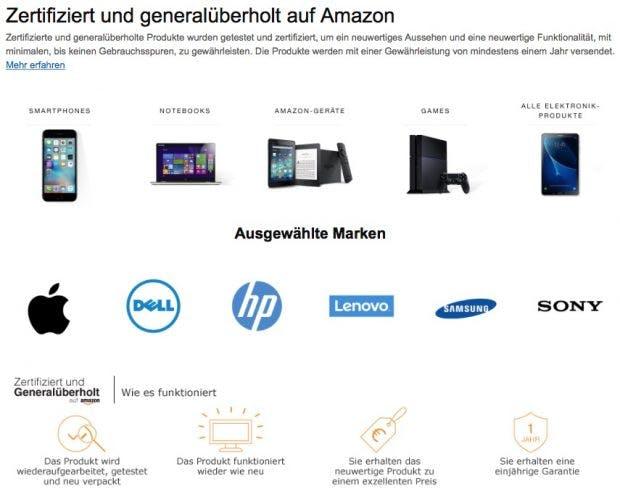 Neuer Bereich für gebrauchte Geräte bei Amazon. (Screenshot: Amazon/t3n.de)