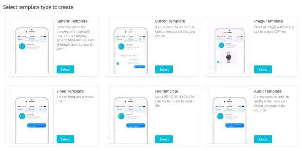 Botsify gibt euch verschiedene Vorlagen für den Bau eures Chatbots mit auf den Weg. (Screenshot: botsify.com)