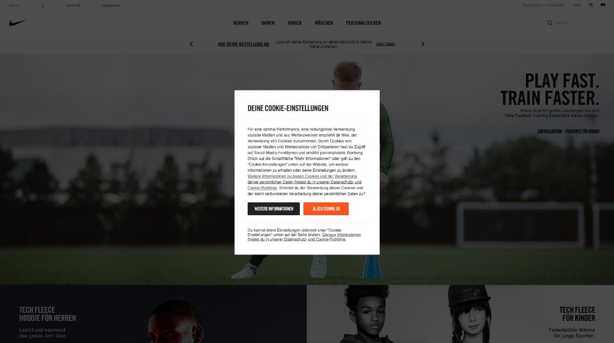 (Screenshot: Nike.de)