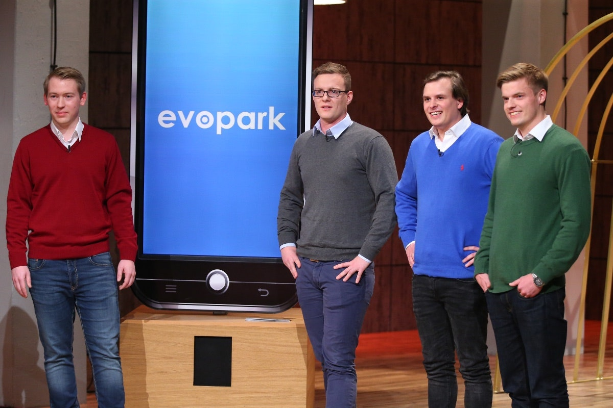 Die Evopark-Gründer bei DHDL. (Foto: TVNOW / Bernd-Michael Maurer)