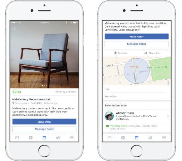 Facebooks Online-Flohmarkt Marketplace soll ohne Gebühren auskommen. (Foto: Facebook)