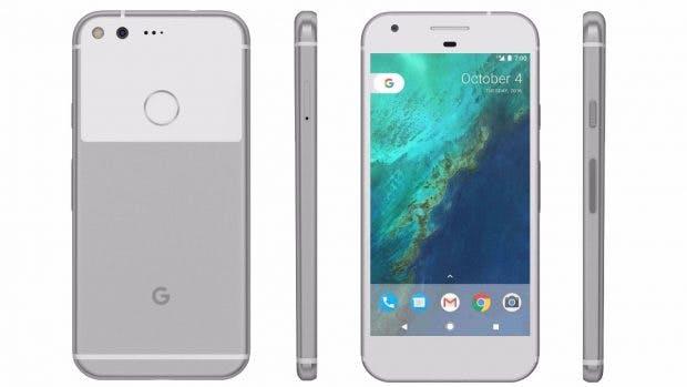 Das Google Pixel in Silber. (Bild: Google)