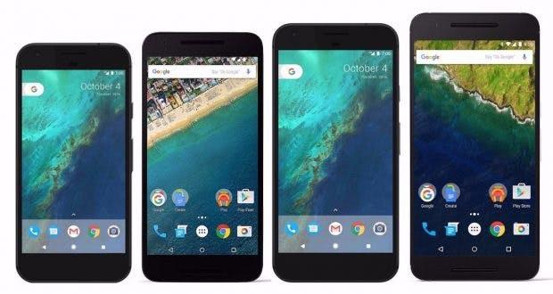 Größenvergleich: Pixel und Pixel XL vs Nexus 6P und 5X.