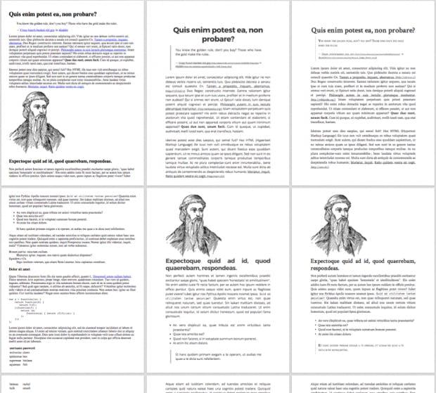 Links ohne Gutenberg.css, Mitte und rechts mit Gutenberg.css. (Screenshot: Github)