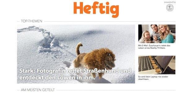 Heftig: Mit Clickbaiting zum Erfolg und jetzt Teil des Funke-Verlags. (Screenshot: heftig.co/t3n.de)