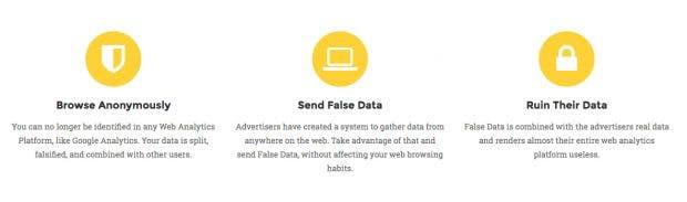 Chrome-Erweiterung: Kill Analytics soll die Privatsphäre von Nutzern schützen, indem sie Analytics-Plattformen mit gefälschten Daten unbrauchbar macht. (Screenshot: hello-kill.github.io)