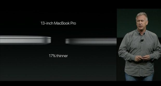 Das 13-Zoll-Modell ist20 Prozent dünner als der alte Modell. (Bild: Apple)