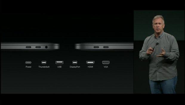 Apple erklärt, dass USB-Typ-C universell wie kein anderer Anschluss ist. Thunderbolt 3 wird auch unterstützt. (Bild: Apple)