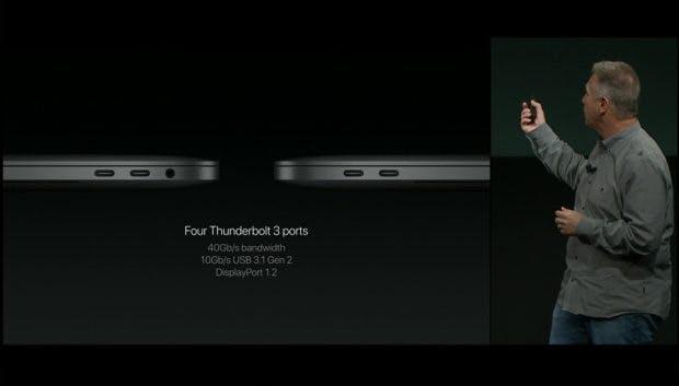 Vier USB-Typ-C-Anschlüsse stecken in den neuen Macbook-Pro-Modellen. (Bild: Apple)
