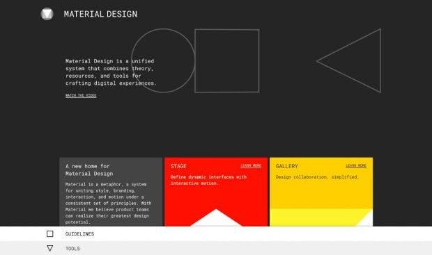 Material.io vereint neue Tools und bekannte Ressourcen unter einer Oberfläche. (Screenshot: material.io)