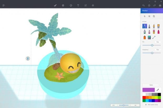 Paint 3D: Das Interface soll so einfach wie zu 2D-Zeiten bleiben. (Screenshot: Microsoft)