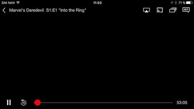 Screenshot-Funktion von iOS 10: Ganz so düster ist Daredevil auf dem Bildschirm eigentlich nicht. (Screenshot: Netflix-App unter iOS 10)