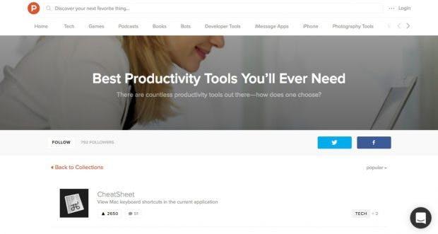 Für mehr Produktivität am Arbeitsplatz: Dieser Product-Hunt-Collection solltest du folgen. (Screenshot: t3n.de)