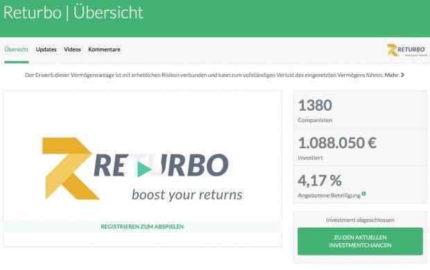 Returbo-Übersichtsseite auf der Crowdinvesting-Plattform Companisto. (Screenshot: Companisto/t3n.de)