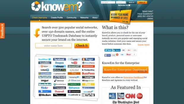 Knowem untersucht, ob es den erdachten Startup-Namen schon gibt. (Screenshot: t3n)
