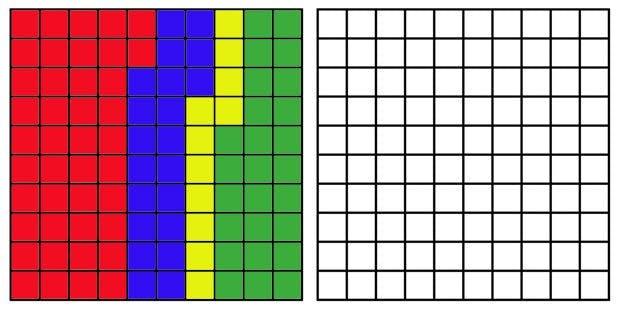 Das 100-Block-Gitter hilft bei der Frage, wie zufrieden du mit dem Verlauf deines Tages bist? (Grafik: t3n.de)