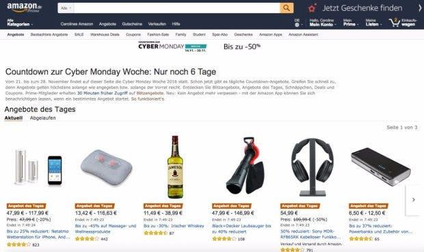 Auch dieses Jahr gibt es wieder einen Cyber-Monday-Countdown bei Amazon. (Screenshot: Amazon)