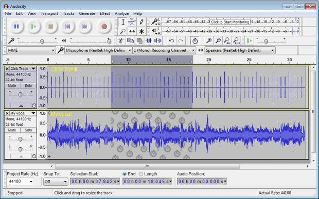 Tools für die Podcast-Produktion: Audacity ist ein Open-Source-Tool zur Aufnahme und Bearbeitung von Audio-Files. (Screenshot: Audacity)