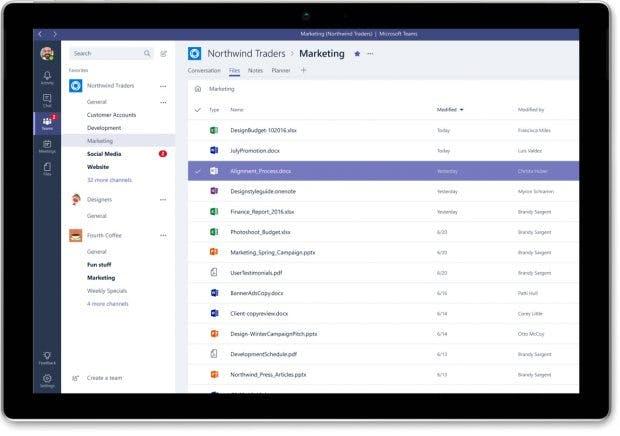 Microsoft Teams: Vor allem die Office-365-Integration dürfte für bestehende Abonnenten interessant sein. (Grafik: Microsoft)