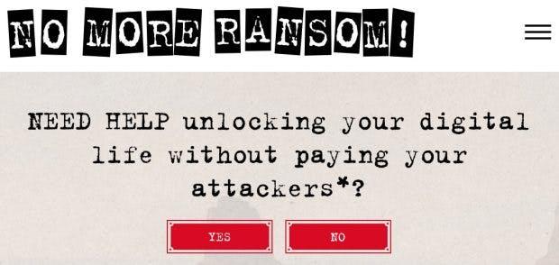 Tech-Firmen und Polizeibehörden kämpfen gemeinsam gegen Ransomware. (Screenshot: Nomoreransomware.org)