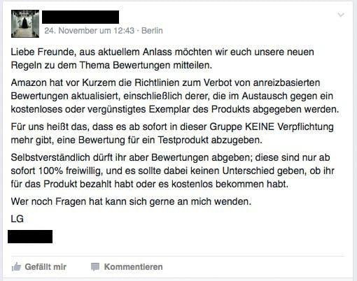 (Screenshot: Facebook-Produkttestergruppe)