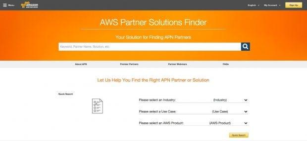 Der AWS Partner Solutions Finder hilft bei der Suche nach dem richtigen Partner für Cloud-Projekte. (Screenshot: aws.amazon.com)
