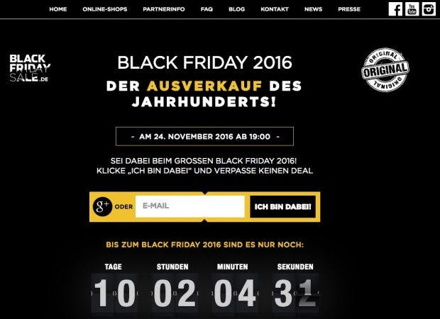 (Screenshot: Blackfridaysale.de)