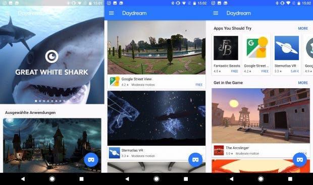 In der Daydream-App könnt ihr euch einen Überblick über das Angebot verschaffen. Leider sind nicht alle Inhalte verfügbar. Einige sind kostenpflichtig. (Bild: t3n)