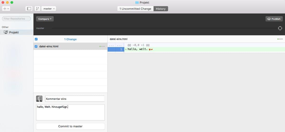 Hier ist ein Change zu sehen, der noch nicht commited wurde. (Screenshot: t3n)